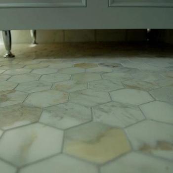 Calcutta Gold Marble Hex Floor, Contemporary, bathroom, Design and Style Interiors