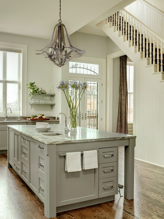 painted kitchen islandsGray Kitchen Island  Transitional  kitchen  Porters Paint