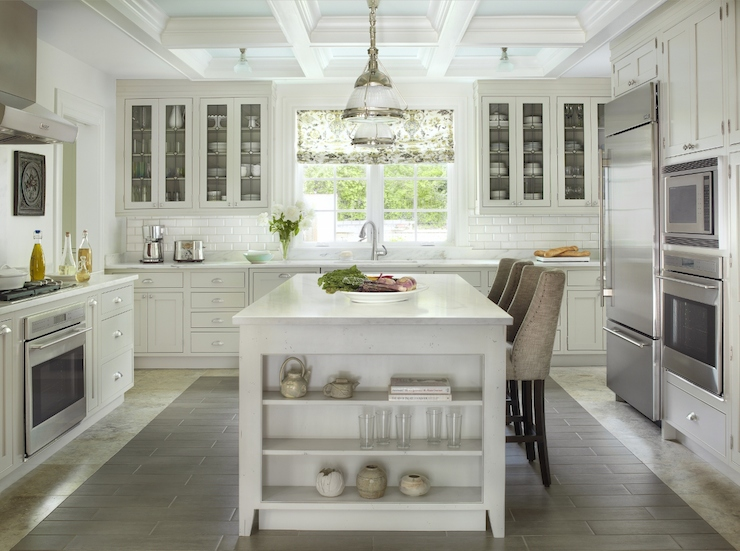 Kitchen With Coffered Ceiling Transitional Kitchen
