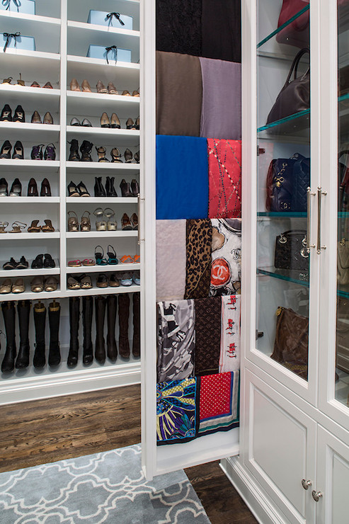 Amazing Closet Features Floor To Ceiling Shelves For Shoes As Well As  Bottom Shelf Used To Hang Boots Next To Pull Out Scarf Cabinet And  Glass Front Handbag ...