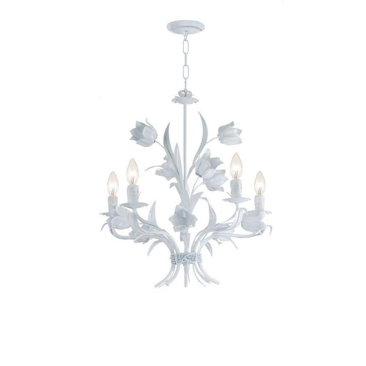 Blooming floral five light white mini chandelier aloadofball Image collections