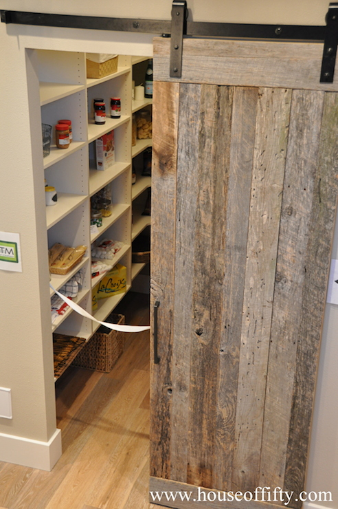 Pantry barn door cottage kitchen house of fifty for Sliding pantry doors