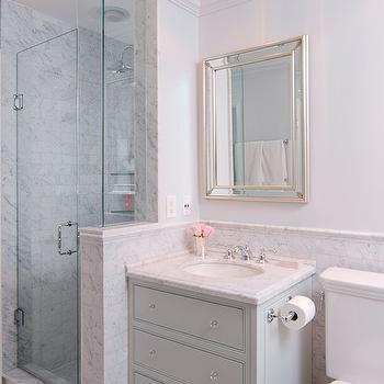 Grey Washstand, Transitional, bathroom, Emily Hollis Interior Design