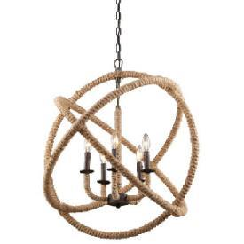 Roped wrapped armillary spheres five light chandelier mozeypictures Images