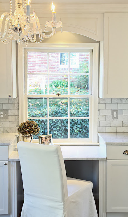 Arched cabinet valance traditional kitchen haute indoor couture - Kitchen desk ideas ...
