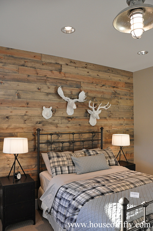 Wood accent wall country bedroom house of fifty for Wood wallpaper bedroom
