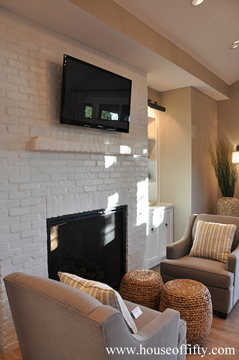 White Brick Fireplace Transitional Living Room House
