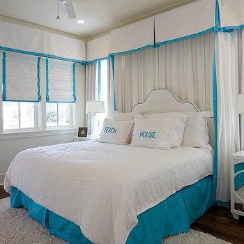 Curtains Behind Bed, Cottage, bedroom, Romair Homes