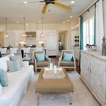 Gray Washed Cabinet, Cottage, living room, Romair Homes