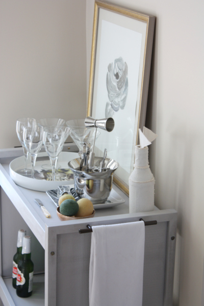 Brass Bar Cart With Lucite Candle Holders