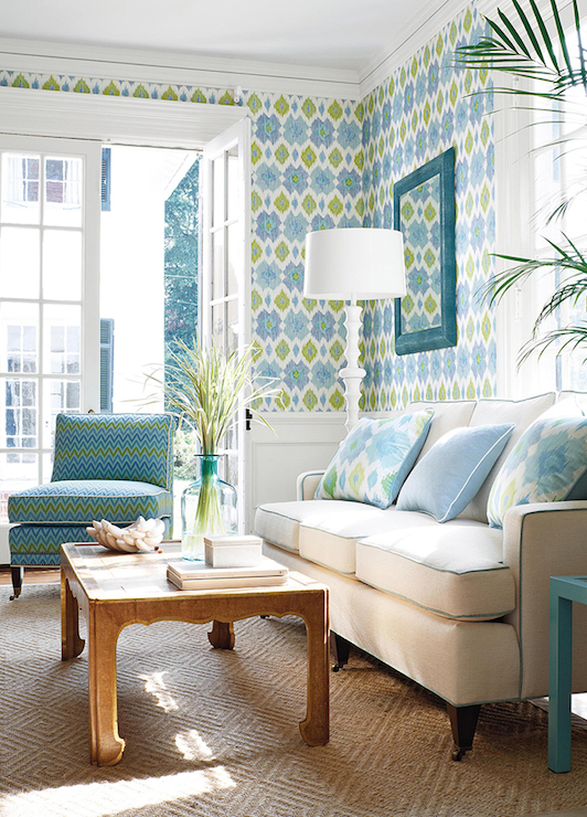 Ikat wallpaper contemporary living room thibaut design Blue wallpaper for living room