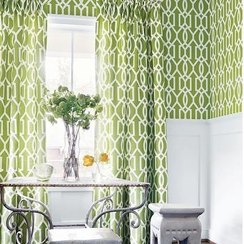 Green Trellis Dining Room Curtains Design Ideas