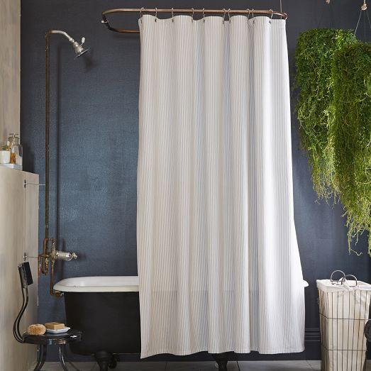 Ticking Gray Stripe Shower Curtain