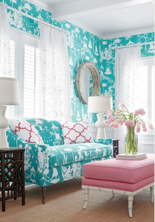 Gorgeous Living Room With Thibaut South Sea Wallpaper In Turquoise Over Wainscoting Framing Plantation Shuttered Windows Dressed White Quatrefoil Sheer