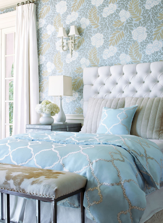 Turquoise duvet transitional bedroom thibaut design for Turquoise wallpaper for bedroom