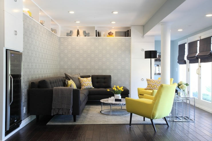 Yellow And Gray Living Room Contemporary Living Room Turquoise LA