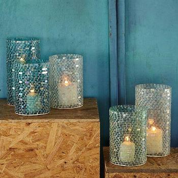 Mosaic Glass Candleholders, west elm