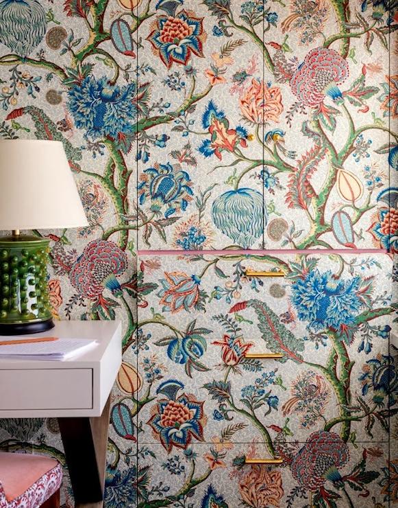 Gray Botanical Bathroom Wallpaper