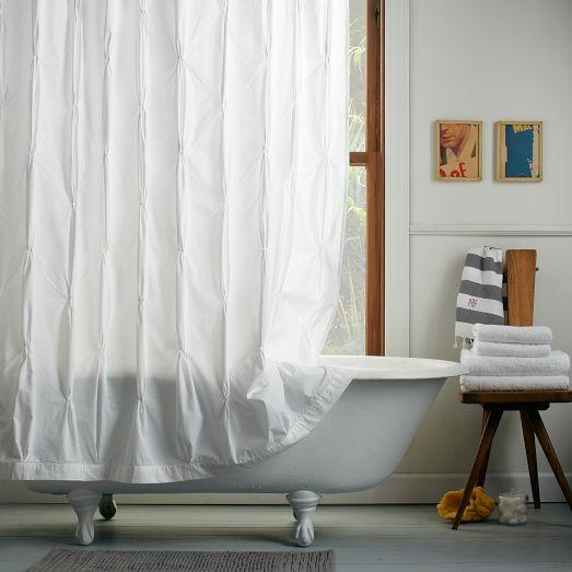 Pintuck White Shower Curtain