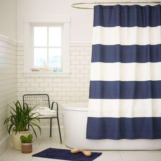 Amazing Blue And White Wide Stripe Shower Curtain