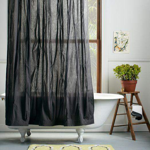 Pintuck Gray Shower Curtain