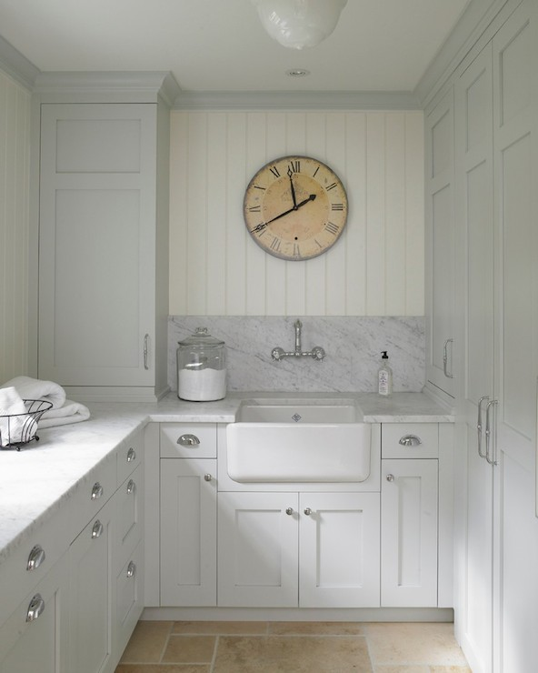 Light gray kitchen cabinets french laundry room for Mudroom sink ideas