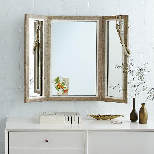 Distressed Mango Wood Trifold Mirror