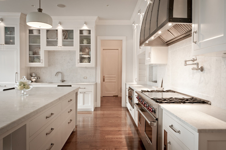 Carrara Marble Countertops Transitional Kitchen