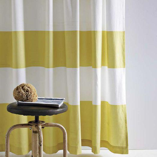 Yellow And White Wide Stripe Shower Curtain