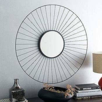 Round Dark Sunburst Framed Black Mirror
