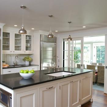 Absolute Black Granite Countertops, Cottage, kitchen, Benjamin Moore White Dove, Huestis Tucker Architects