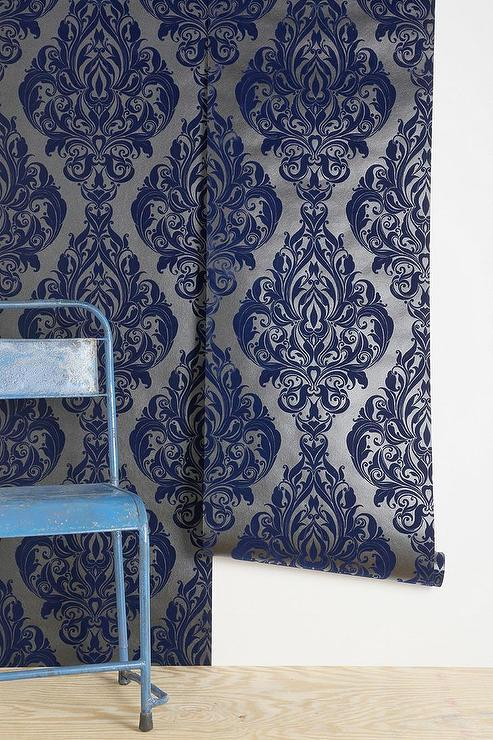 Top Graham and Brown Vintage-Style Blue and Silver Velvet Wallpaper AR44