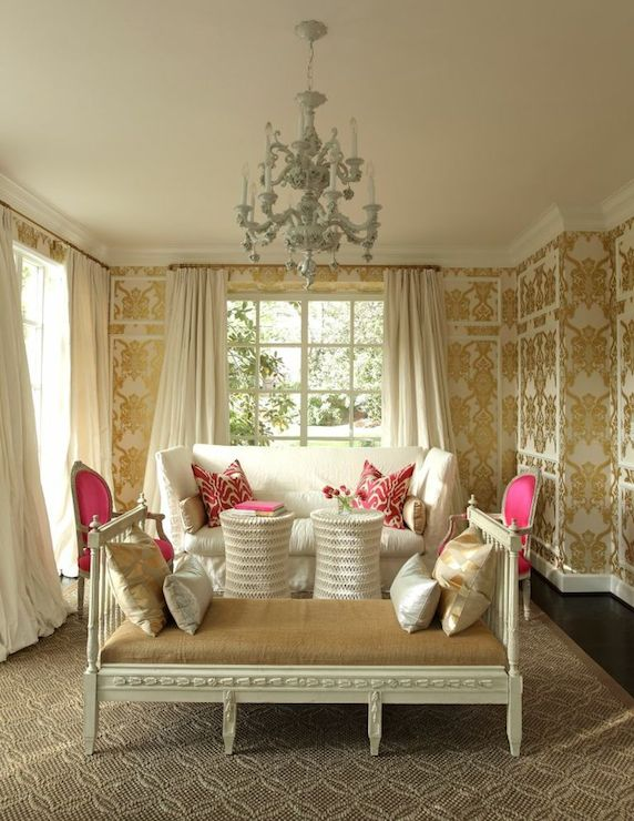 Damask metallic wallpaper eclectic living room for Pink living room wallpaper