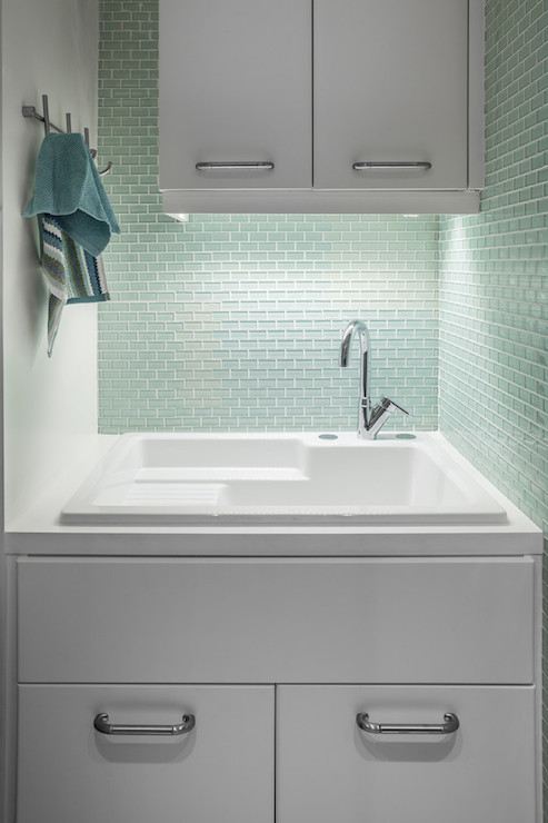 Mint Green Tiles Contemporary Laundry Room 2id Interiors