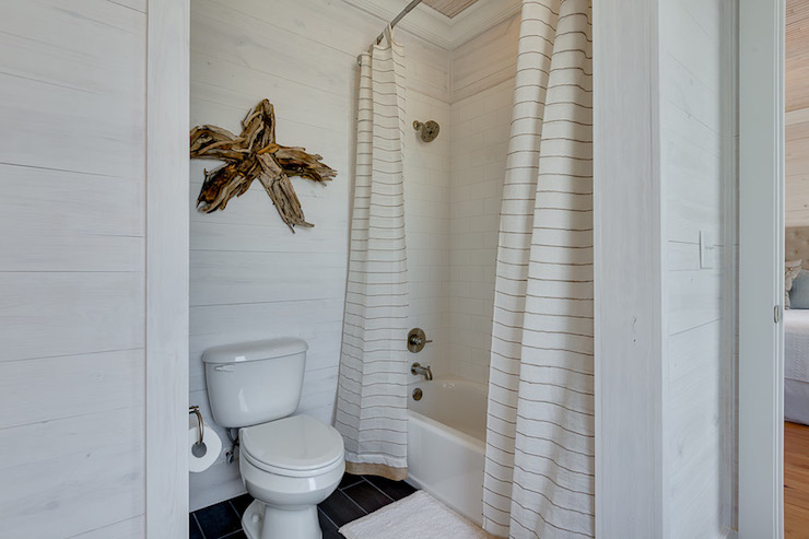 Double Shower Curtains - Cottage - bathroom - Pat O\'Neal Interiors