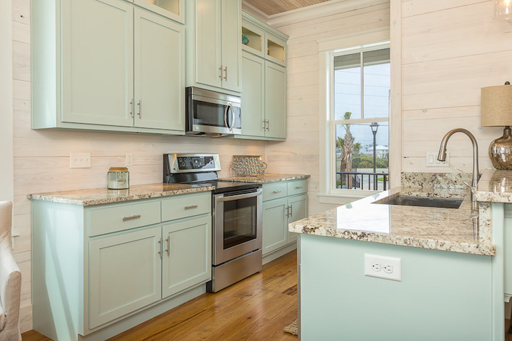 Turquoise Kitchen Cabinets, Cottage, kitchen, Pat O'Neal Interiors