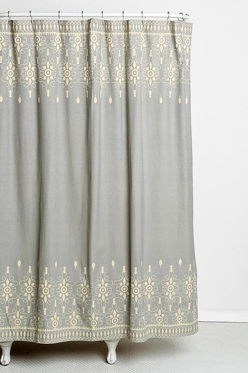 magical thinking embroidery ivory and gray shower curtain 25397