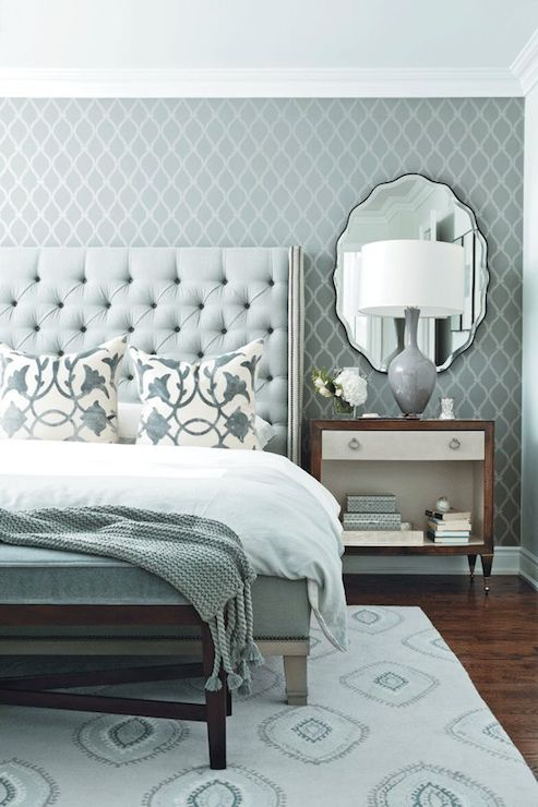 Blue and gray bedroom contemporary bedroom chatelaine for Blue and white bedroom wallpaper