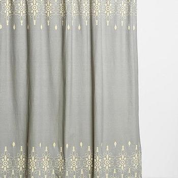 Magical Thinking Embroidery Ivory And Gray Shower Curtain