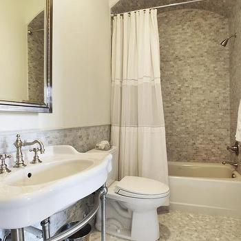 2 Tone Shower Curtain, Transitional, bathroom, HAR