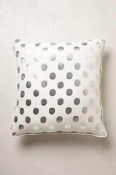 luminous silver dots square pillow
