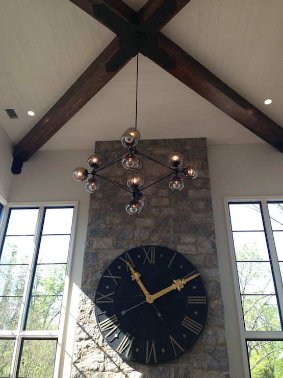 French Wall Clock Transitional Living Room Tracery