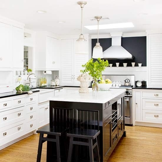 Black and white kitchen transitional kitchen - White kitchen with dark island ...