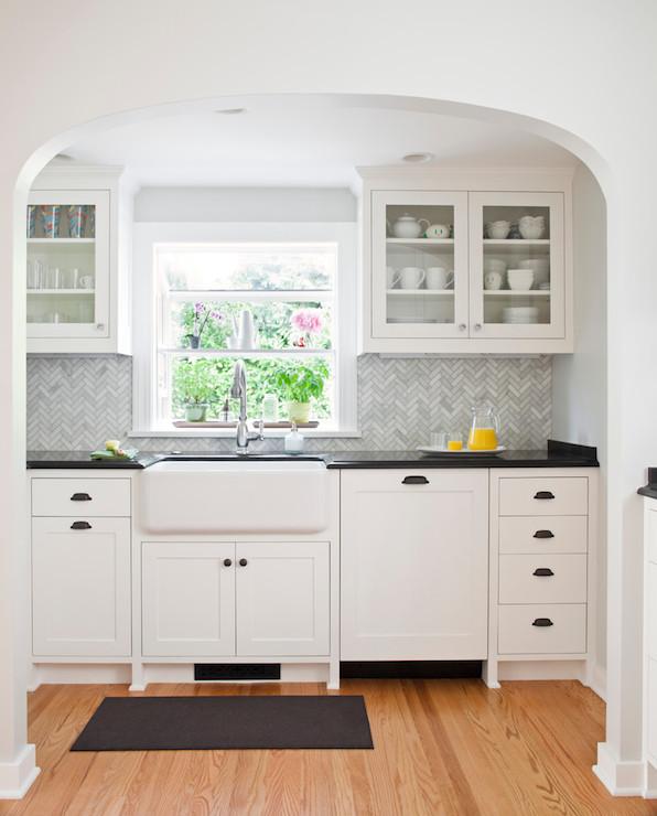 Marble Herringbone Backsplash Transitional Kitchen Benjamin