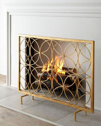 venn gold circles fireplace screen