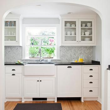 Marble Herringbone Backsplash, Transitional, kitchen, Benjamin Moore Simply White, Rom Architecture Studio