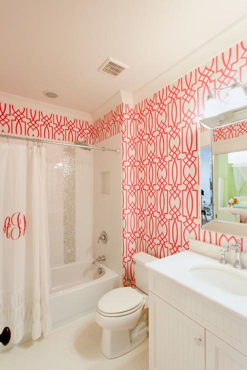 Pink Trellis Wallpaper Contemporary Bathroom Jacksonbuilt Custom Homes