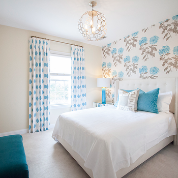Turquoise Blue Lamps, Contemporary, bedroom, Lucy and Company