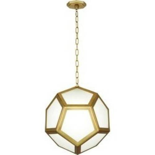 Robert Abbey Pythagoras Matte Brass Pendant - Honeycomb Shape Glass Pendant