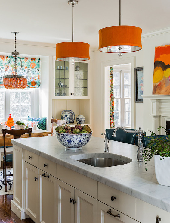 Orange drum pendant contemporary kitchen katie - Kitchen with orange accents ...